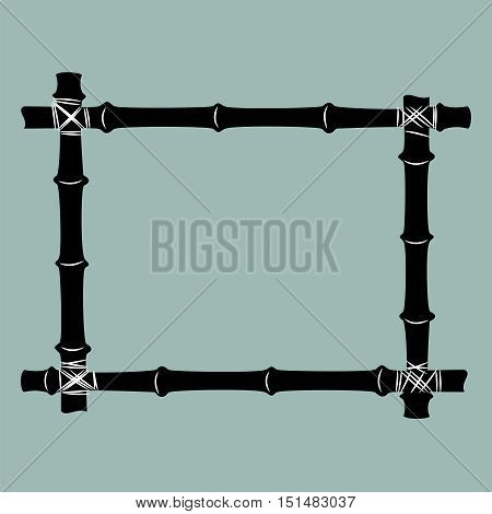 Frame of black bamboo. Isolated on blue background. Vector silhouettes