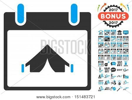 Camping Calendar Day icon with bonus calendar and time management graphic icons. Vector illustration style is flat iconic symbols, blue and gray colors, white background.