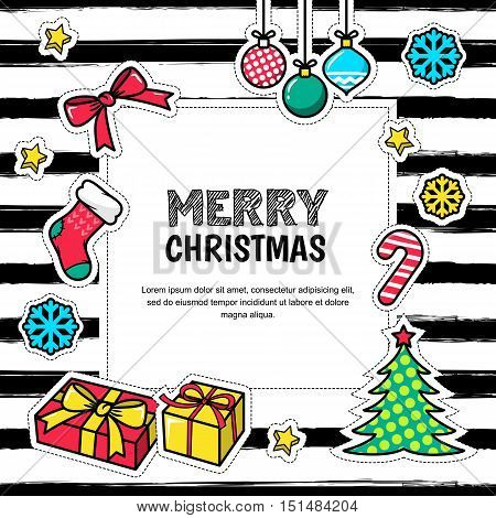 Merry Christmas And Happy New Year 2017, Vector Greeting Card.