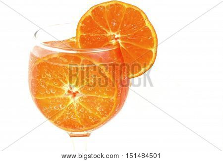 colorful orange in soda with write background (vintage)