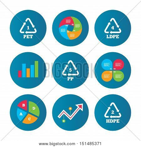 Business pie chart. Growth curve. Presentation buttons. PET 1, Ld-pe 4, PP 5 and Hd-pe 2 icons. High-density Polyethylene terephthalate sign. Recycling symbol. Data analysis. Vector