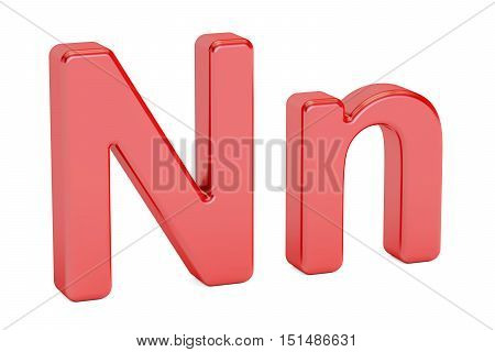 English letter N alphabet 3D rendering isolated on white background