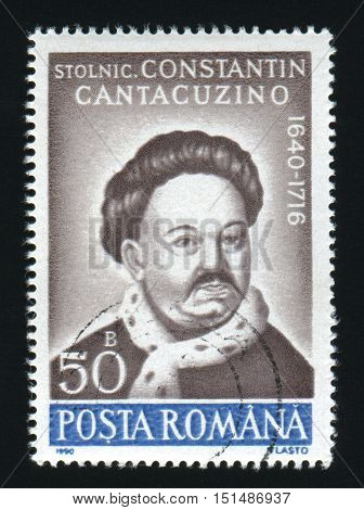 ROMANIA - CIRCA 1990: A post stamp printed in Romania, shows portrait of Constantin Cantacuzino, 1640 - 1716, circa 1990.