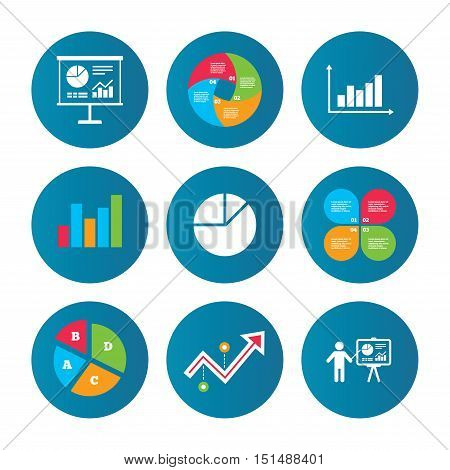Business pie chart. Growth curve. Presentation buttons. Diagram graph Pie chart icon. Presentation billboard symbol. Supply and demand. Man standing with pointer. Data analysis. Vector