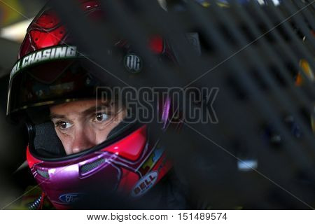 Concord, NC - Oct 06, 2016: Ricky Stenhouse Jr. (17) hangs out in the garage during practice for the Bank of America 500 at the Charlotte Motor Speedway in Concord, NC.
