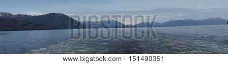 Panorama of the wake of a ship passing through the Patagonian Channels of southern Chile