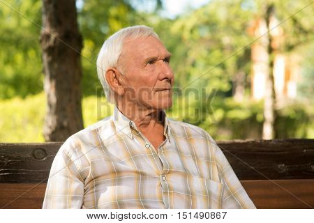Old man with thoughtful face. Portrait of elderly male. Rethink all that you've done. It's time to make conclusions.