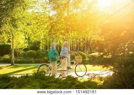 Senior couple with tandem bike. Two people in the park. Find place for a picnic. Cleanliness and fresh air.