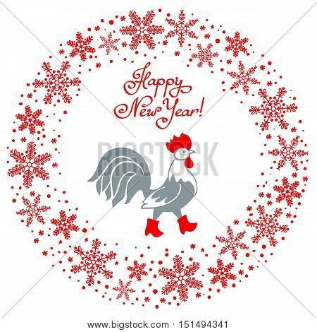 Rooster in red boots. Cartoon stylized rooster symbol of New Year 2017 isolated on white background. Round garland of snowflakes