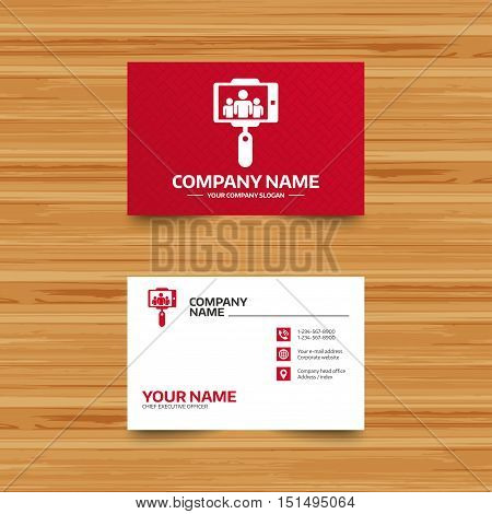 Business card template. Monopod selfie stick icon. Self portrait with group of people. Phone, globe and pointer icons. Visiting card design. Vector