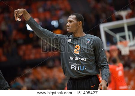 VALENCIA, SPAIN - OCTOBER 12th: Dominique Sutton during Eurocup match between Valencia Basket and Ratiopharm Ulm at Fonteta Stadium on October 12, 2016 in Valencia, Spain
