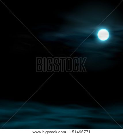 Illustration Night Sky with the Moon. Lunar Landscape - Vector