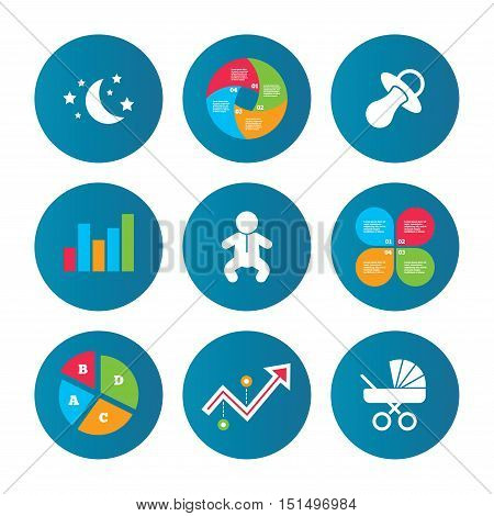 Business pie chart. Growth curve. Presentation buttons. Moon and stars symbol. Baby infants icon. Buggy and dummy signs. Child pacifier and pram stroller. Data analysis. Vector