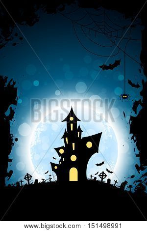Grungy Halloween Party Background with Haunted House, Bats, Moon and Spider