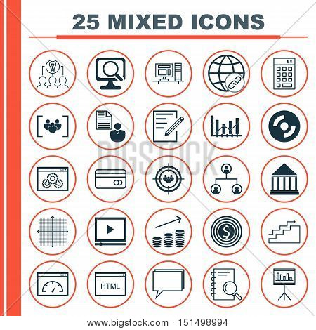 Set Of 25 Universal Icons On Focus Group, Investment, Computer And More Topics. Vector Icon Set Incl