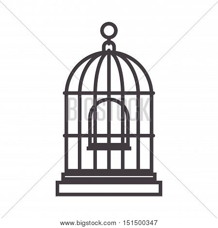 silhouette for bird cage and swing vector illustration