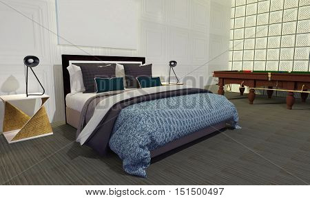 Modern bedroom with loft style-3D rendering image