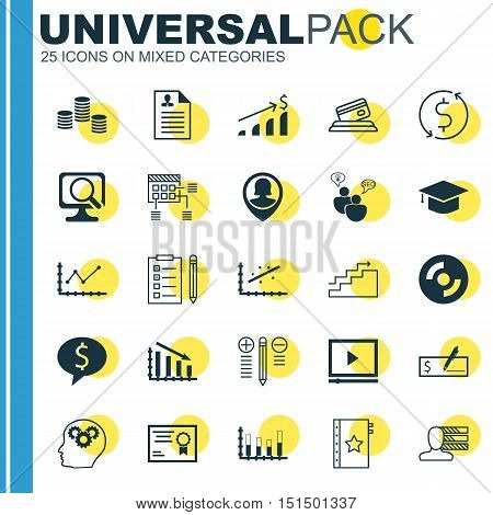 Set Of 25 Universal Icons On Successful Investment, Brain Process, Schedule And More Topics. Vector