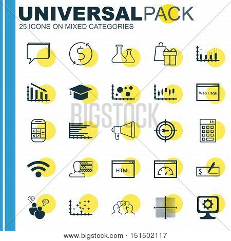 Set Of 25 Universal Icons On Stock Market, Plot Diagram, SEO Brainstorm And More Topics. Vector Icon Set Including Plot Diagram, Coding, Fail Graph And Other Icons.