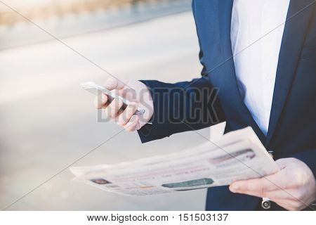 Businessman With Telephone In Hand.