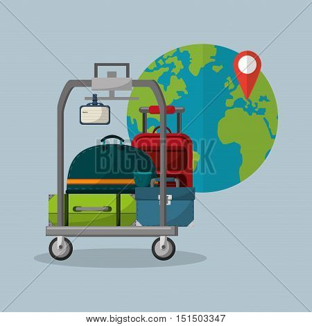 luggage on cart with travel vacation or holidays related icons image vector illustration