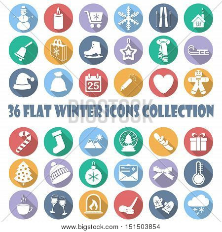 Vector flat winter circle icon collection on white background
