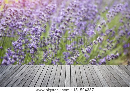 Empty top of old wooden table and lavender flowers