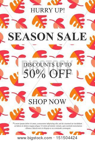 Vector Season Sale banner with autumn leaves for online stores websites retail posters social media ads. Creative banner layout for m-commerce mobile applications e-mail promotions.