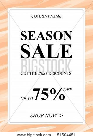 Vector Season Sale banner with watercolor background for online stores websites retail posters social media ads. Creative banner layout for m-commerce mobile applications promotions advertising.
