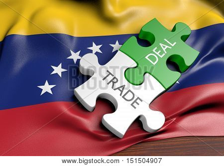 Venezuela trade deals and international commerce concept, 3D rendering