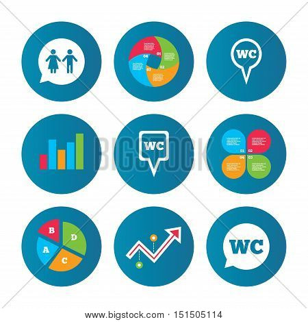 Business pie chart. Growth curve. Presentation buttons. WC Toilet pointer icons. Gents and ladies room signs. Man and woman speech bubble symbols. Data analysis. Vector