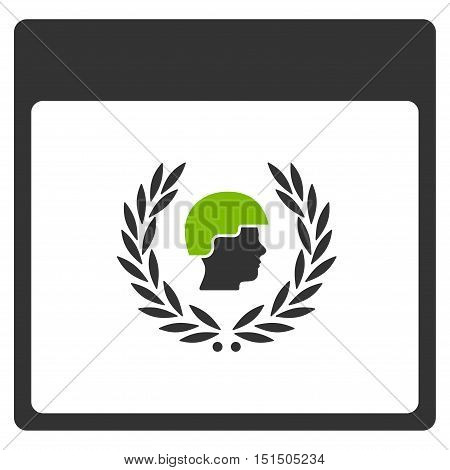 Soldier Laurel Wreath Calendar Page vector pictograph. Style is flat graphic bicolor symbol, eco green and gray colors, white background.