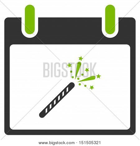 Sparkler Firecracker Calendar Day vector pictograph. Style is flat graphic bicolor symbol, eco green and gray colors, white background.