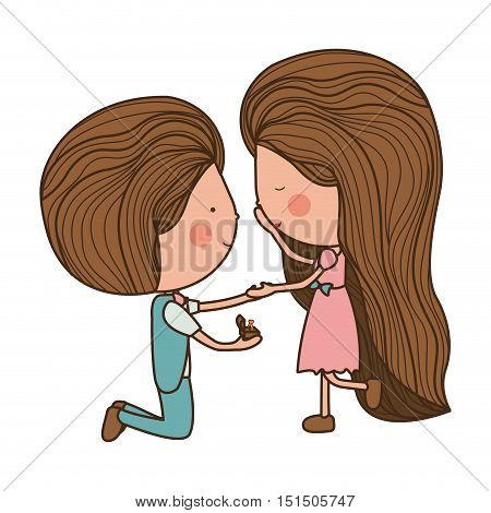proposed marriage of man to woman vector illustration