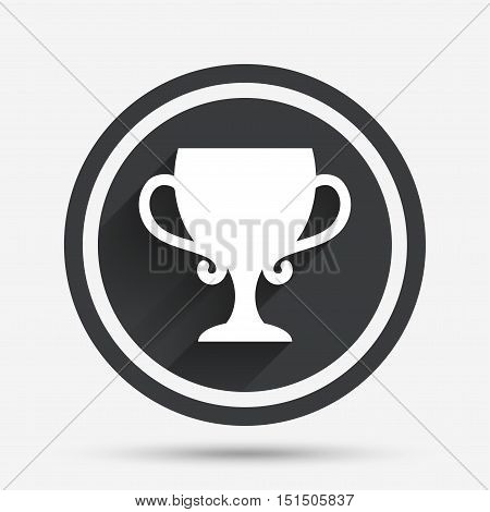 Winner cup sign icon. Awarding of winners symbol. Trophy. Circle flat button with shadow and border. Vector