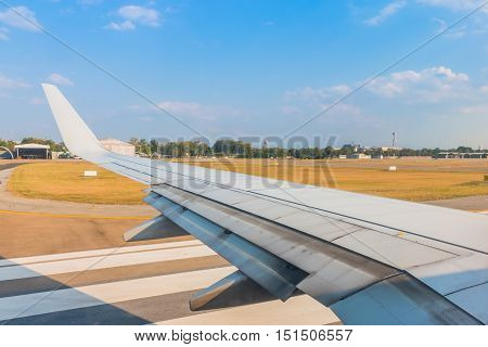The Wing Aircraft In Airport Waiting For Takeoff