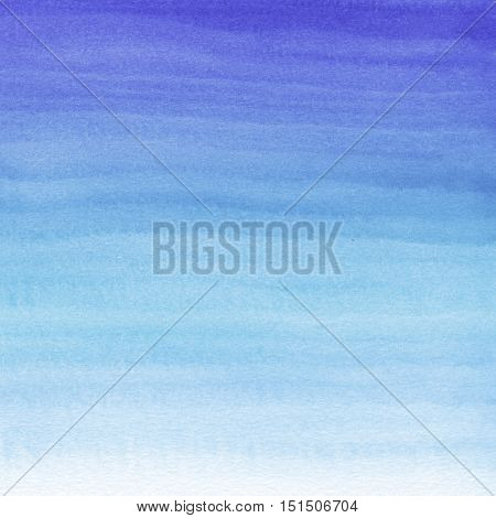 Abstract watercolor hand painted background. Gradient from deep blue to white color.