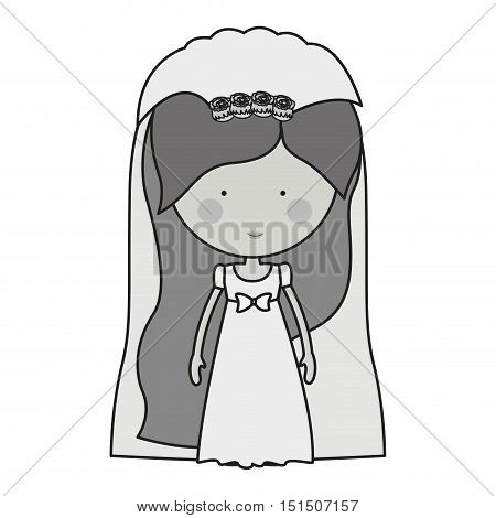 monochrome bride with dress and veil vector illustration