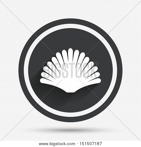 Sea shell sign icon. Conch symbol. Travel icon. Circle flat button with shadow and border. Vector