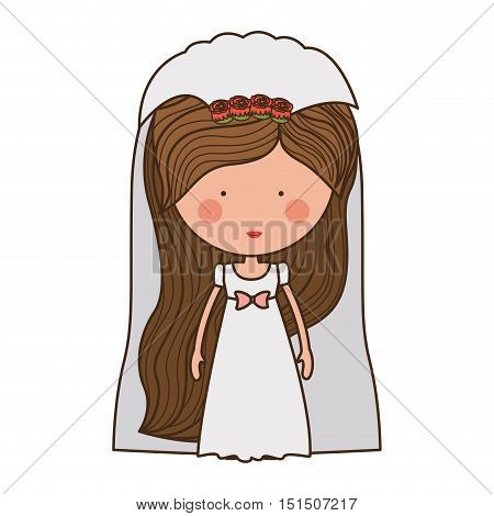 bride with dress and veil vector illustration
