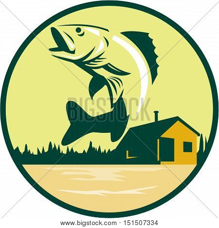 Illustration of a Walleye (Sander vitreus formerly Stizostedion vitreum) a freshwater perciform fish jumping with lake and cabin in the woods in the background set inside circle done in retro style.