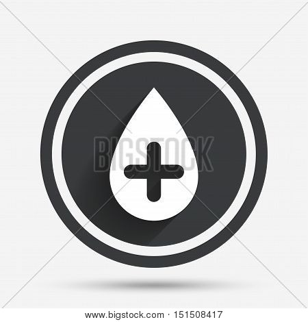 Water drop with plus sign icon. Softens water symbol. Circle flat button with shadow and border. Vector