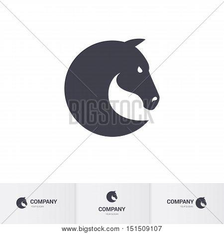 Simple Dark Horse Head for Mascot Logo Template
