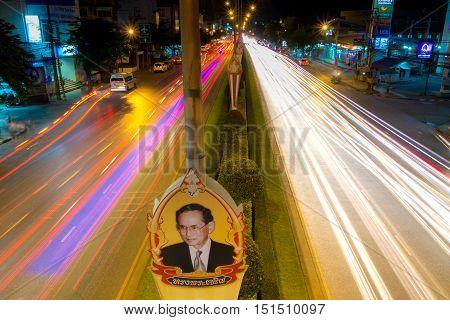 BANGKOK THAILAND-NOVEMBER 23 2015 : Long exposure light on Sihaburanukit Road. celebration lights decoration for father day (King of Thailand birth day) at Minburi district in Bangkok Thailand