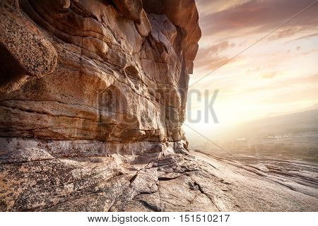 Rock Wall In The Desert At Sunset