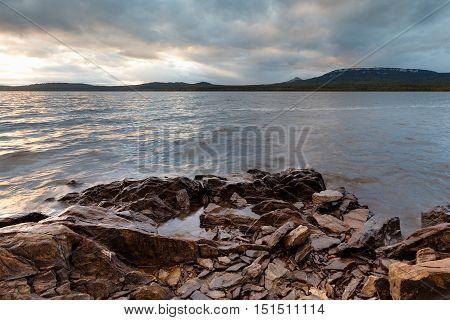 Rocky Coast Stone Waterfront Sunset
