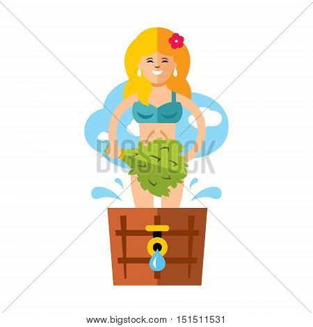 Woman with a broom steam bath in a wooden basin. Isolated on a white background