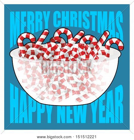 Merry Christmas And Happy New Year. Bowl And Peppermint Christmas Candy. Sweets On Plate. Traditiona