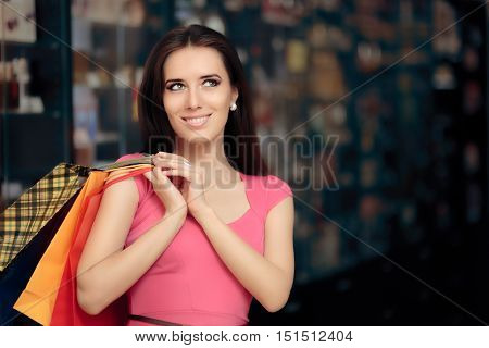 Happy Woman Shopping in a Store Looking for Gifts