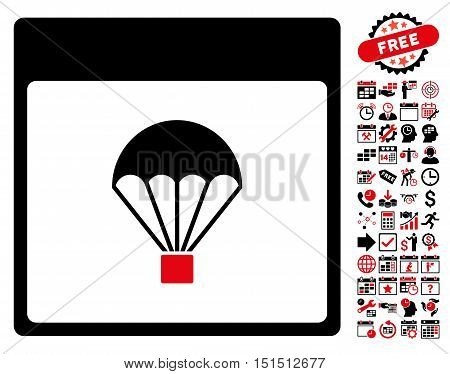 Parachute Calendar Page icon with bonus calendar and time management symbols. Vector illustration style is flat iconic symbols, intensive red and black, white background.